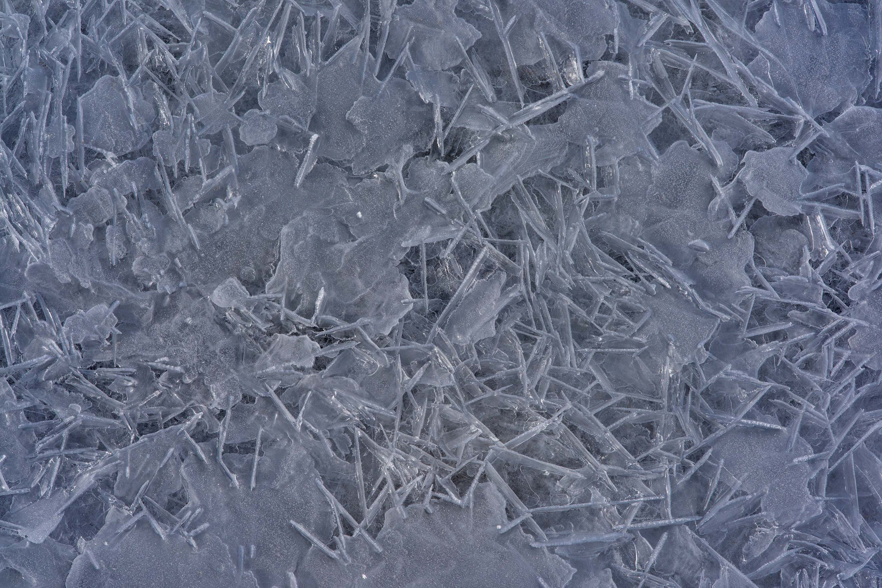 Pearly ice crystals on frozen Gulf of Finland in...west from St.Petersburg. Russia