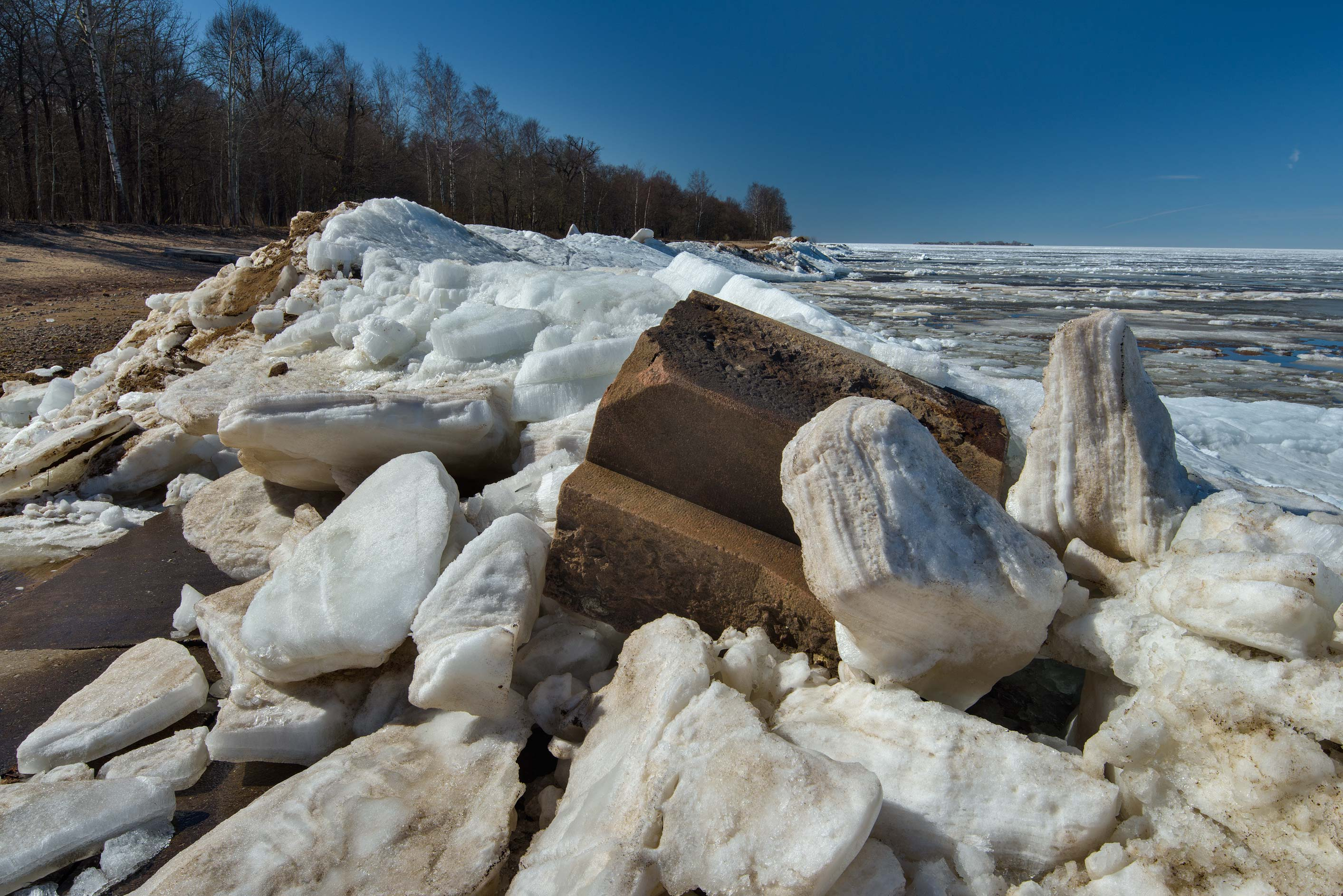 Accumulation of melting ice in Gulf of Finland...west from St.Petersburg. Russia