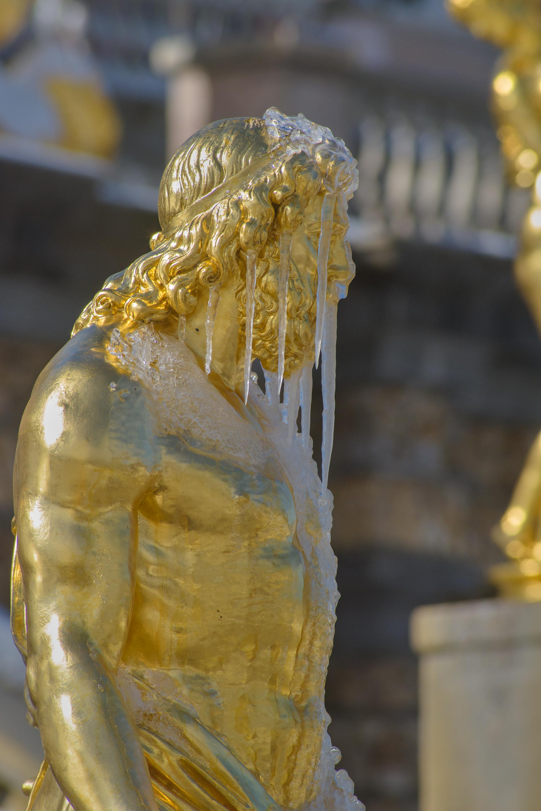 Accumulation of ice on a statue of Grand Cascade...suburb of St.Petersburg. Russia