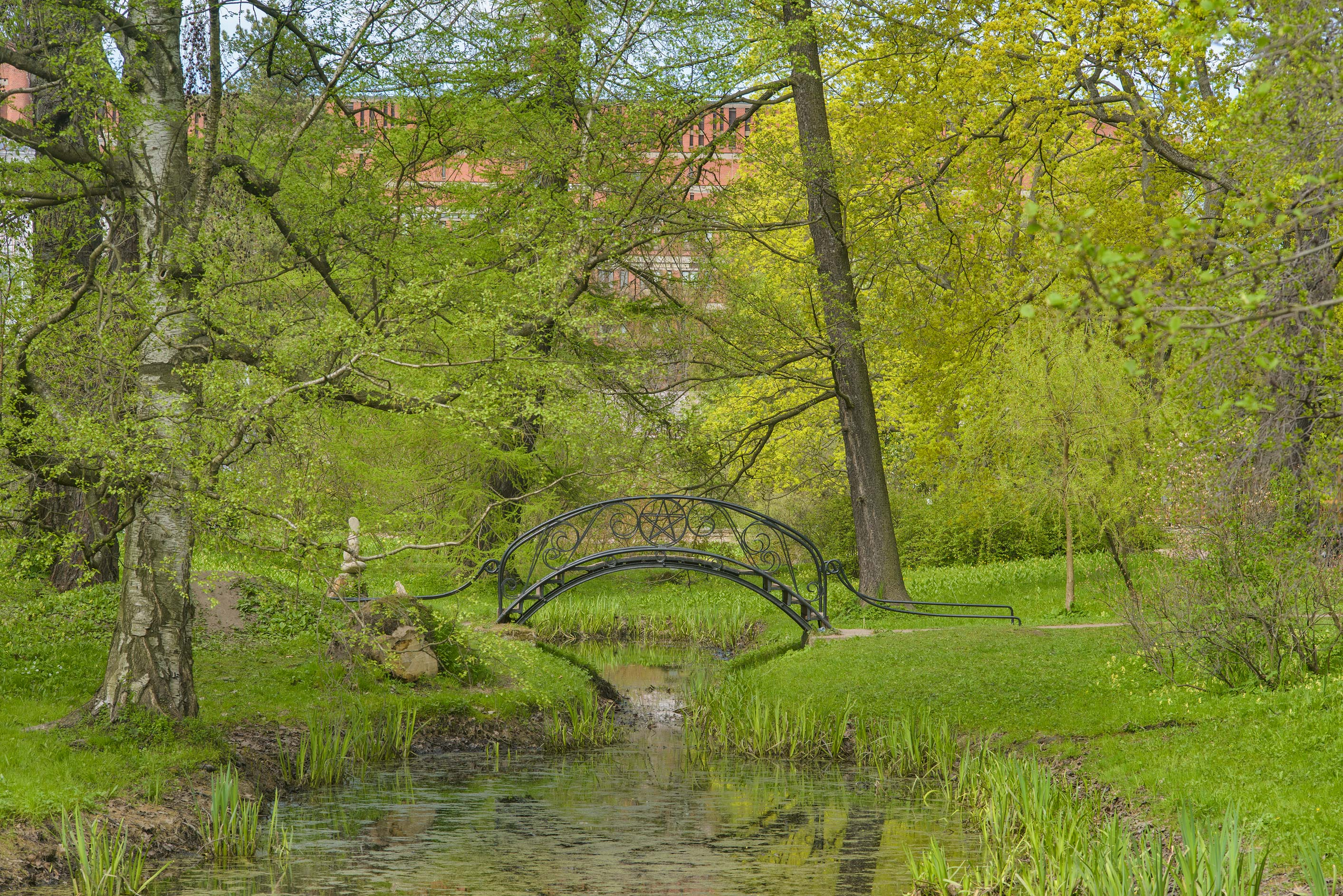 Iron foot bridge in Botanic Gardens of Komarov Botanical Institute. St.Petersburg, Russia