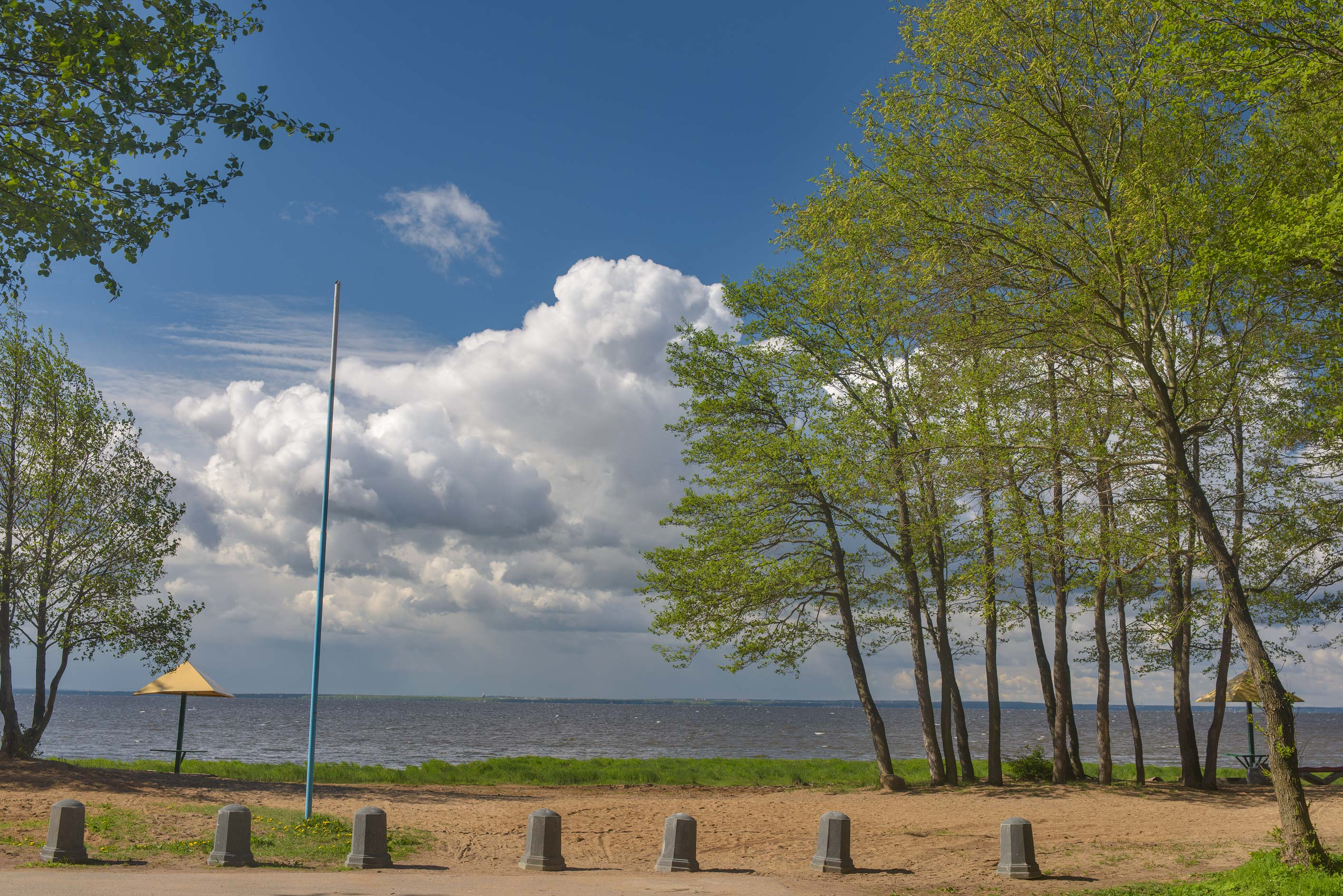 Morskie Dubki Beach and Gulf of Finland from...Nos, west from St.Petersburg. Russia
