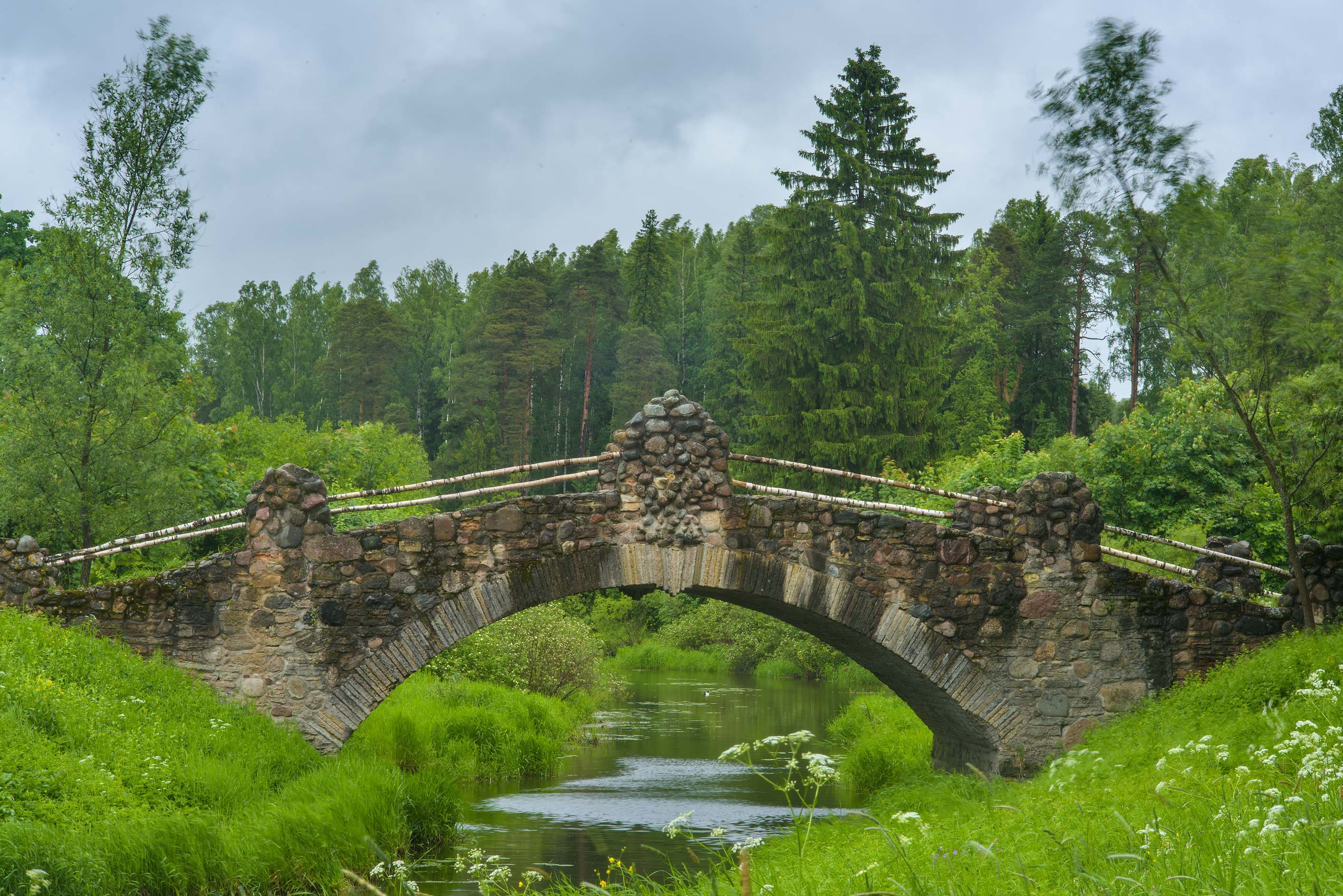 Novosilviysky Bridge in Pavlovsk Park. Pavlovsk, a suburb of St.Petersburg, Russia