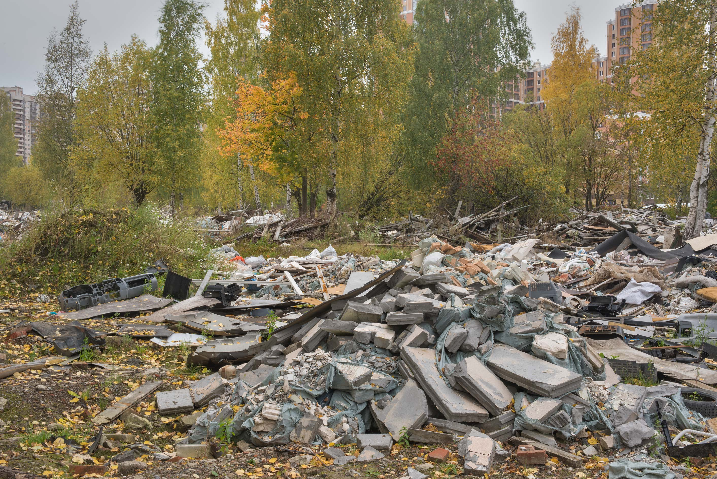 Rubble in area of former German camps in Sosnovka Park. St.Petersburg, Russia