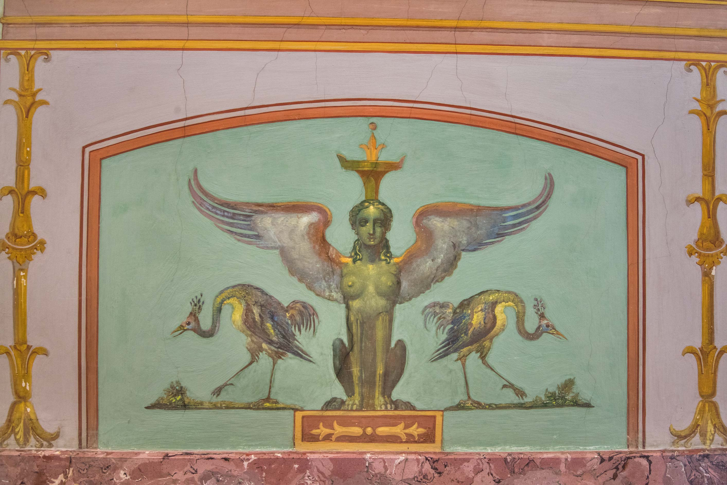 Wall decoration in Gallery of Ancient Painting in Hermitage Museum. St.Petersburg, Russia