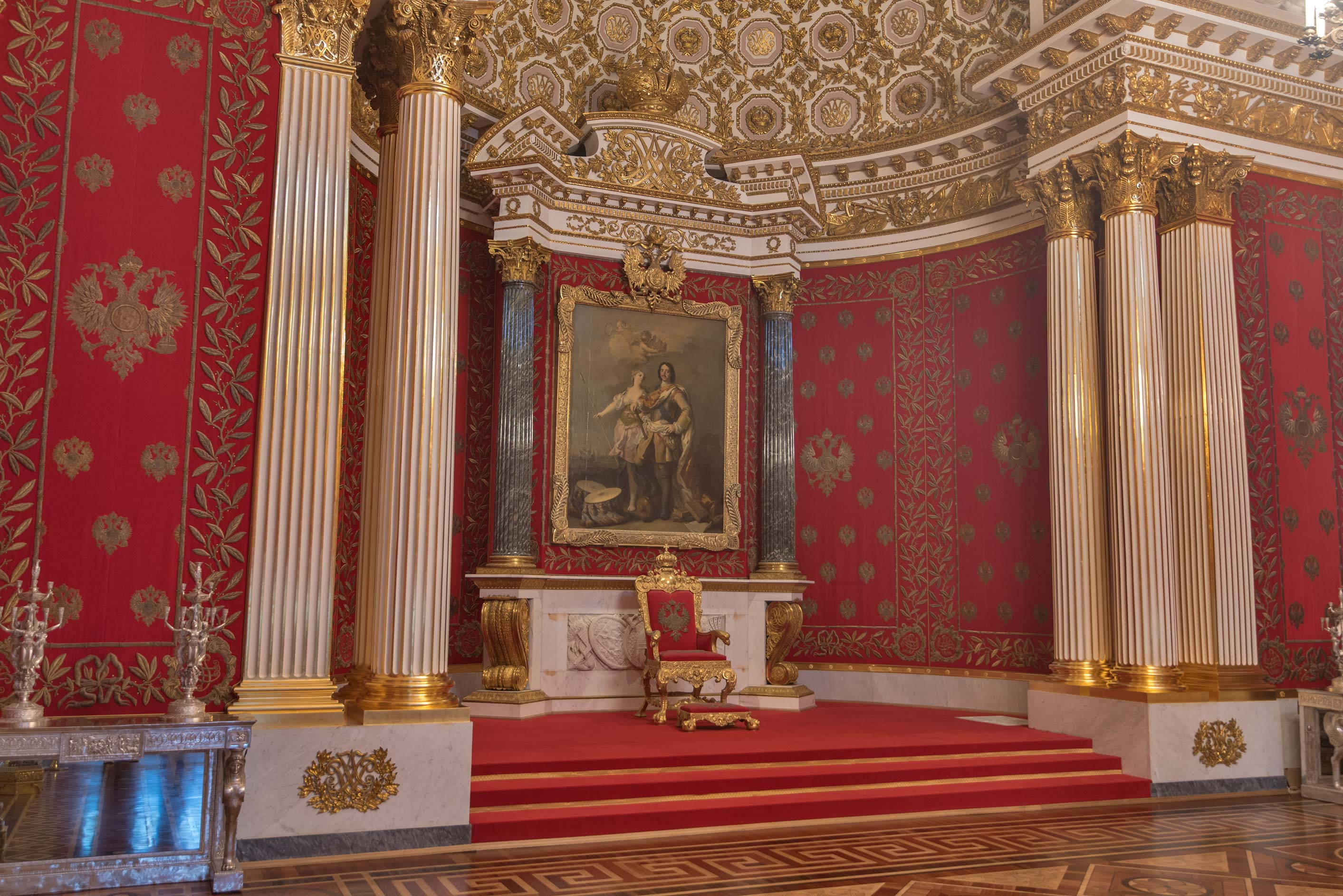 Crimson hall in Hermitage Museum. St.Petersburg, Russia