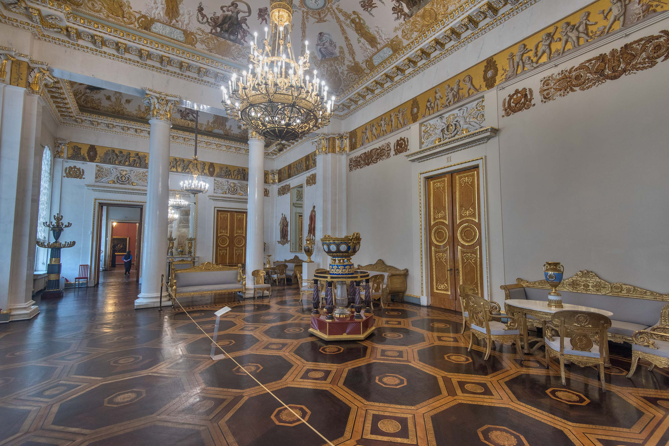 Parquet of White Hall in Russian Museum. St.Petersburg, Russia