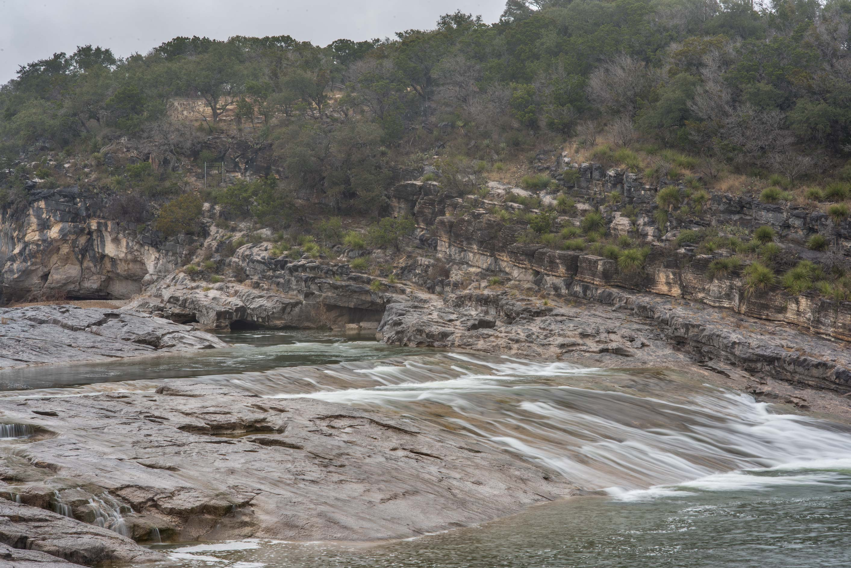 Waterfalls from the overlook in Pedernales Falls State Park. Johnson City, Texas