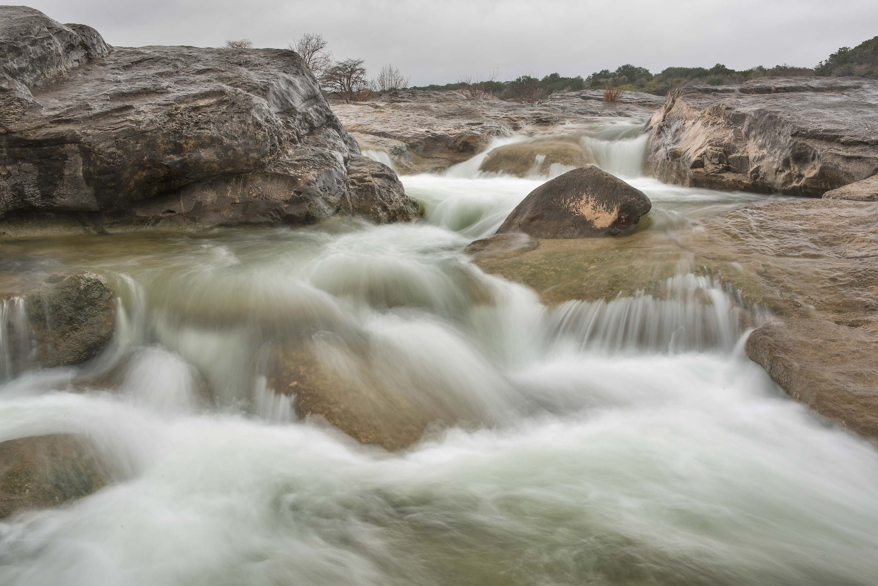 Water stream in Pedernales Falls State Park. Johnson City, Texas