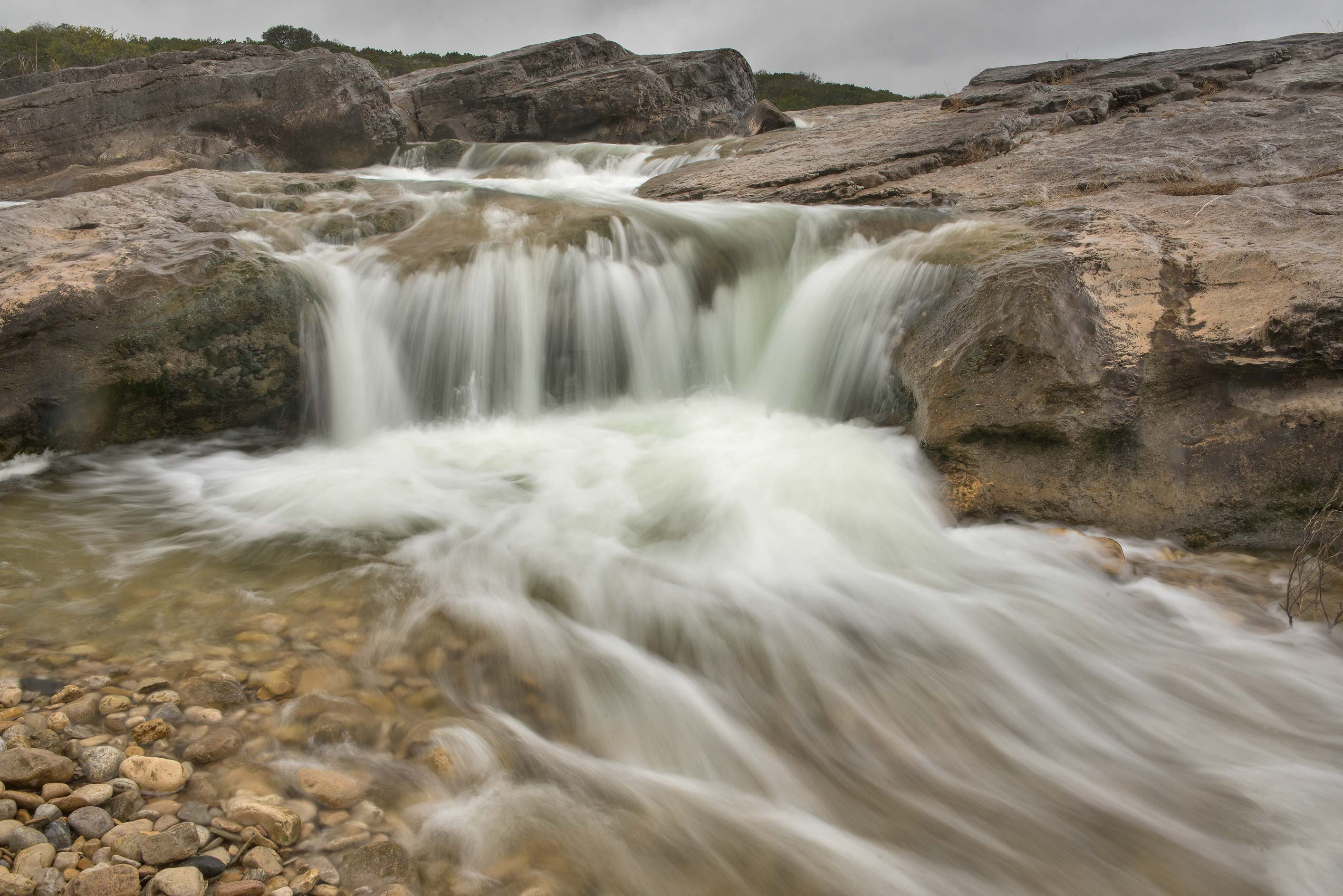 Small waterfall in Pedernales Falls State Park. Johnson City, Texas