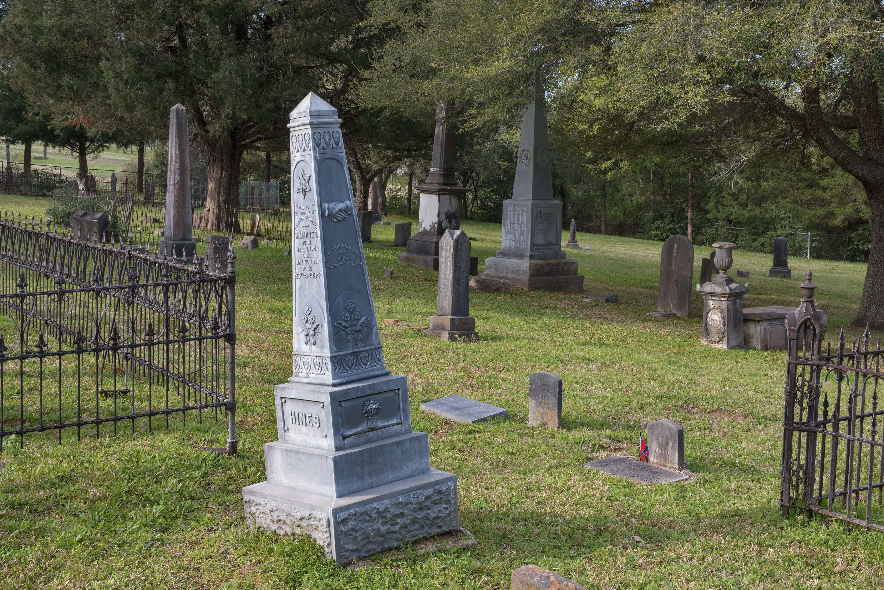 Blue tomb in Masonic Cemetery. Chappell Hill, Texas