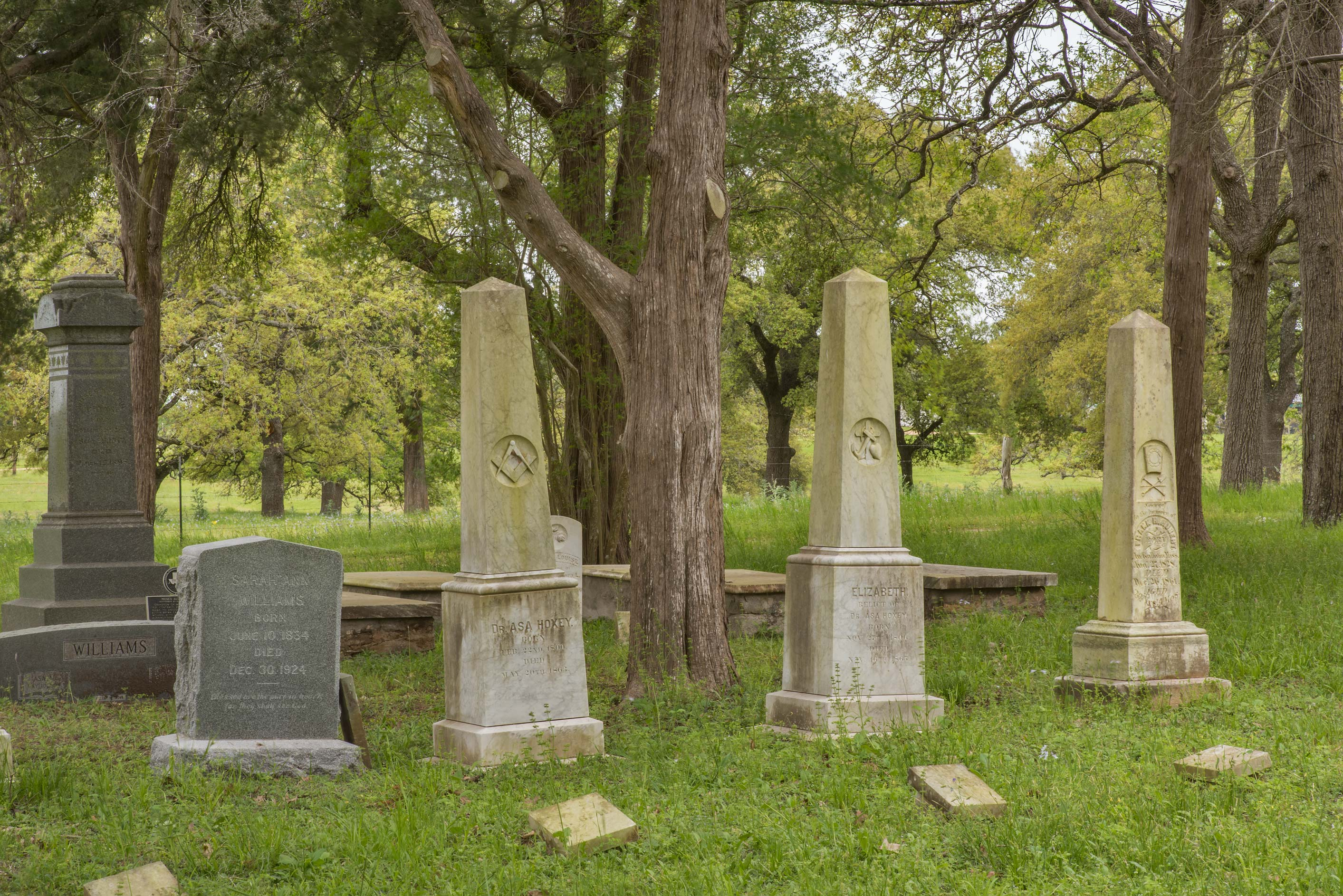 Marble and granite tombs in Historic Independence Cemetery near Independence. Texas