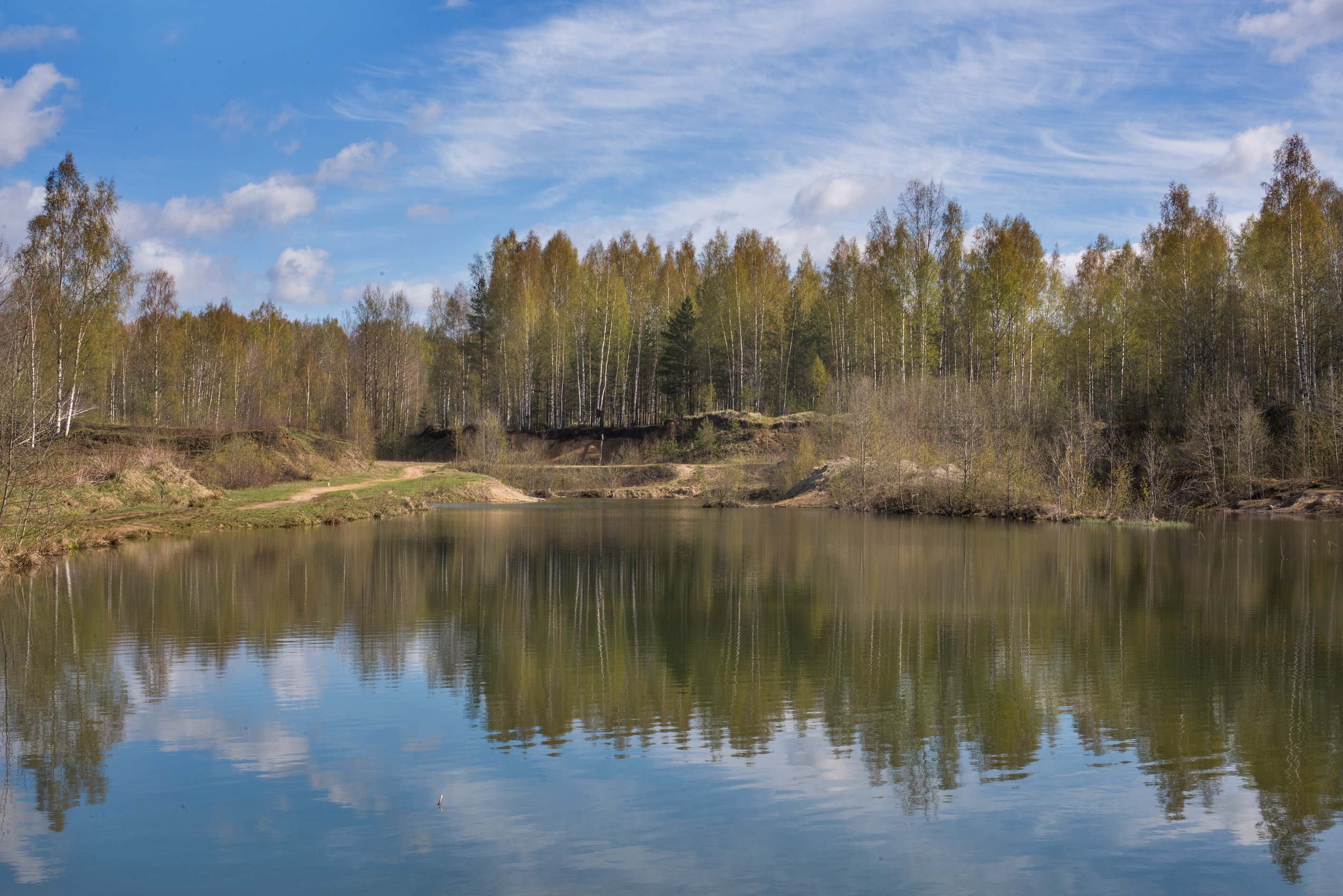 Small sand quarry near Kuzmolovo, north from St.Petersburg. Russia