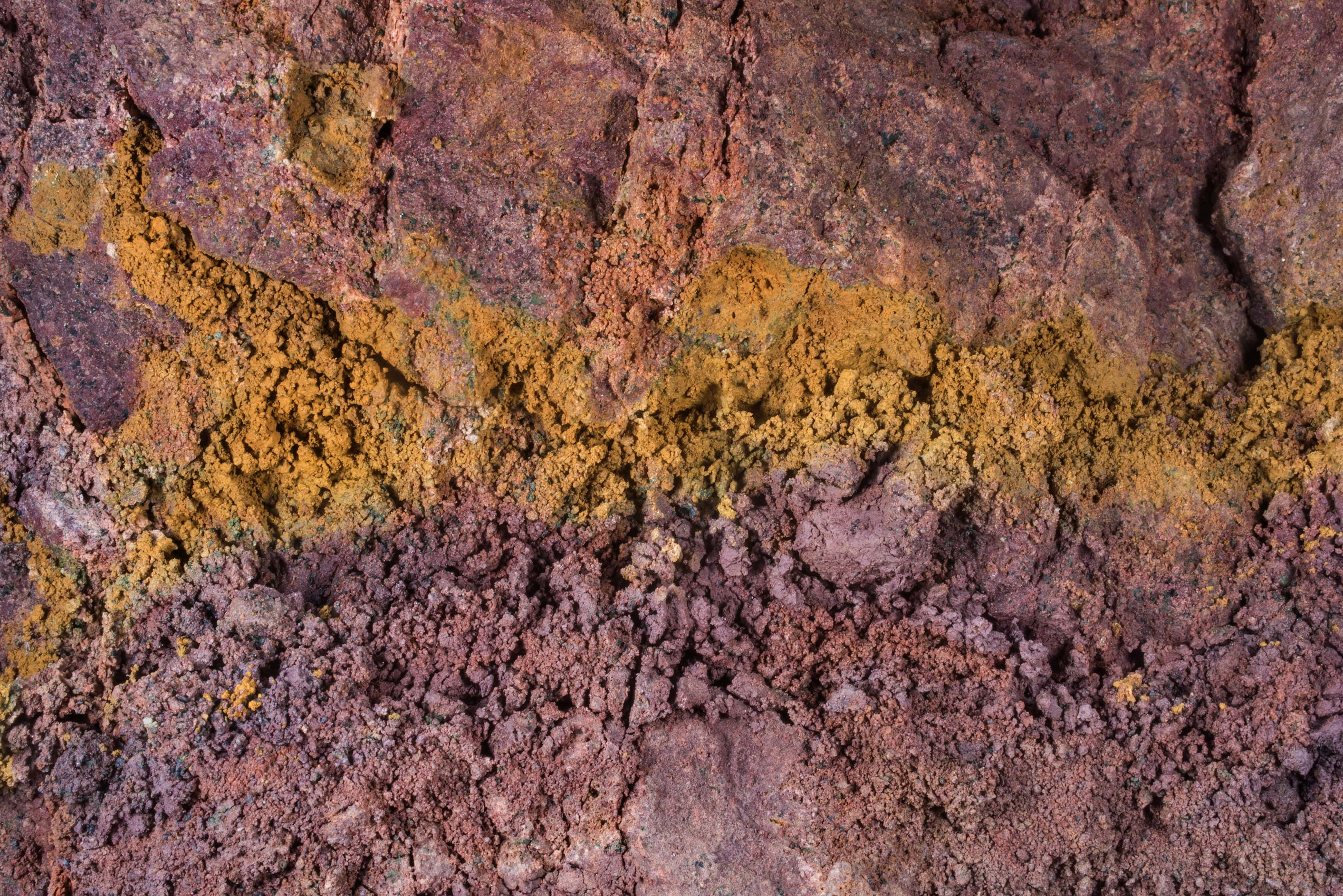 Orange and red clay layers in Popovka river...south from St.Petersburg. Russia