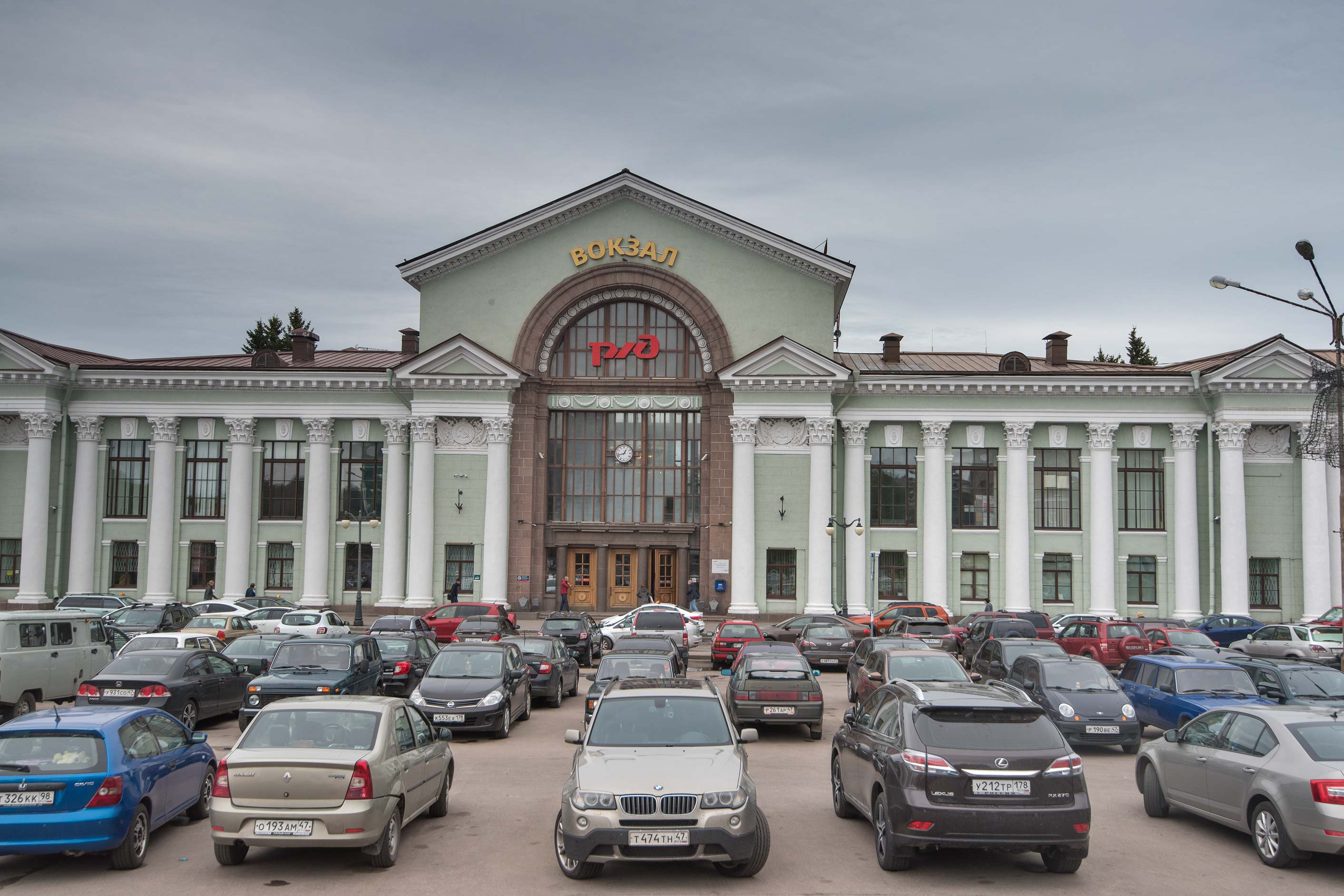 Parking in front of railway station in Vyborg. Russia