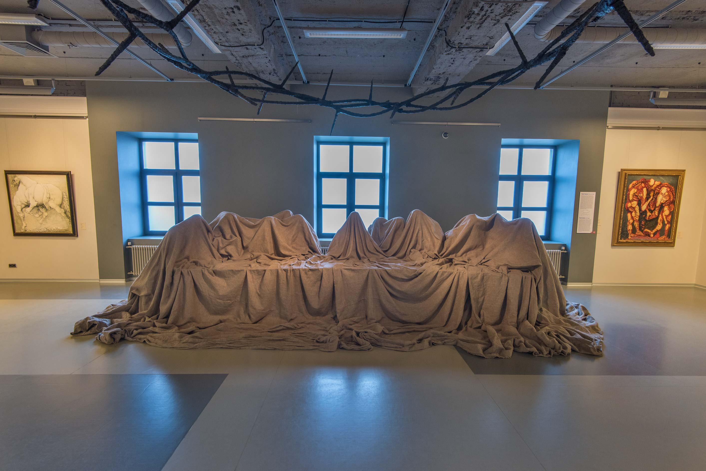Art installation Last Supper by Pavel Grishin in...Art. St.Petersburg, Russia
