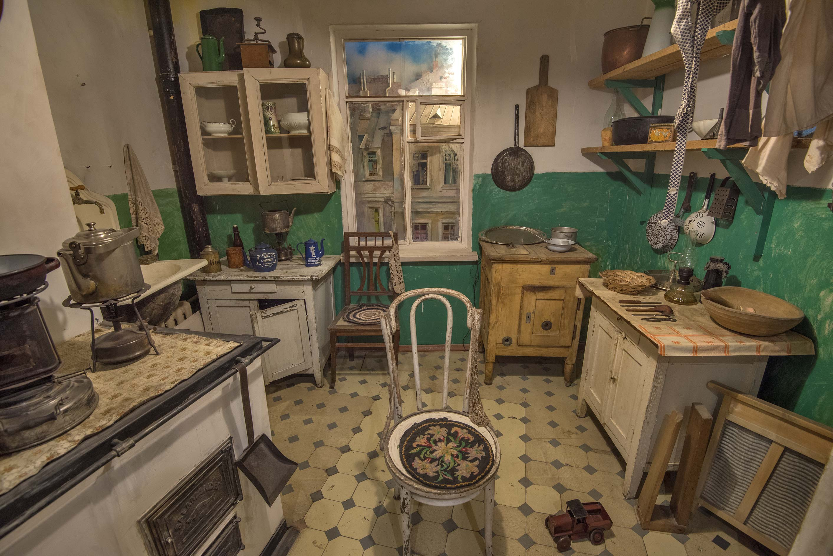 Common kitchen of a communal flat (reconstruction...Mansion). St.Petersburg, Russia