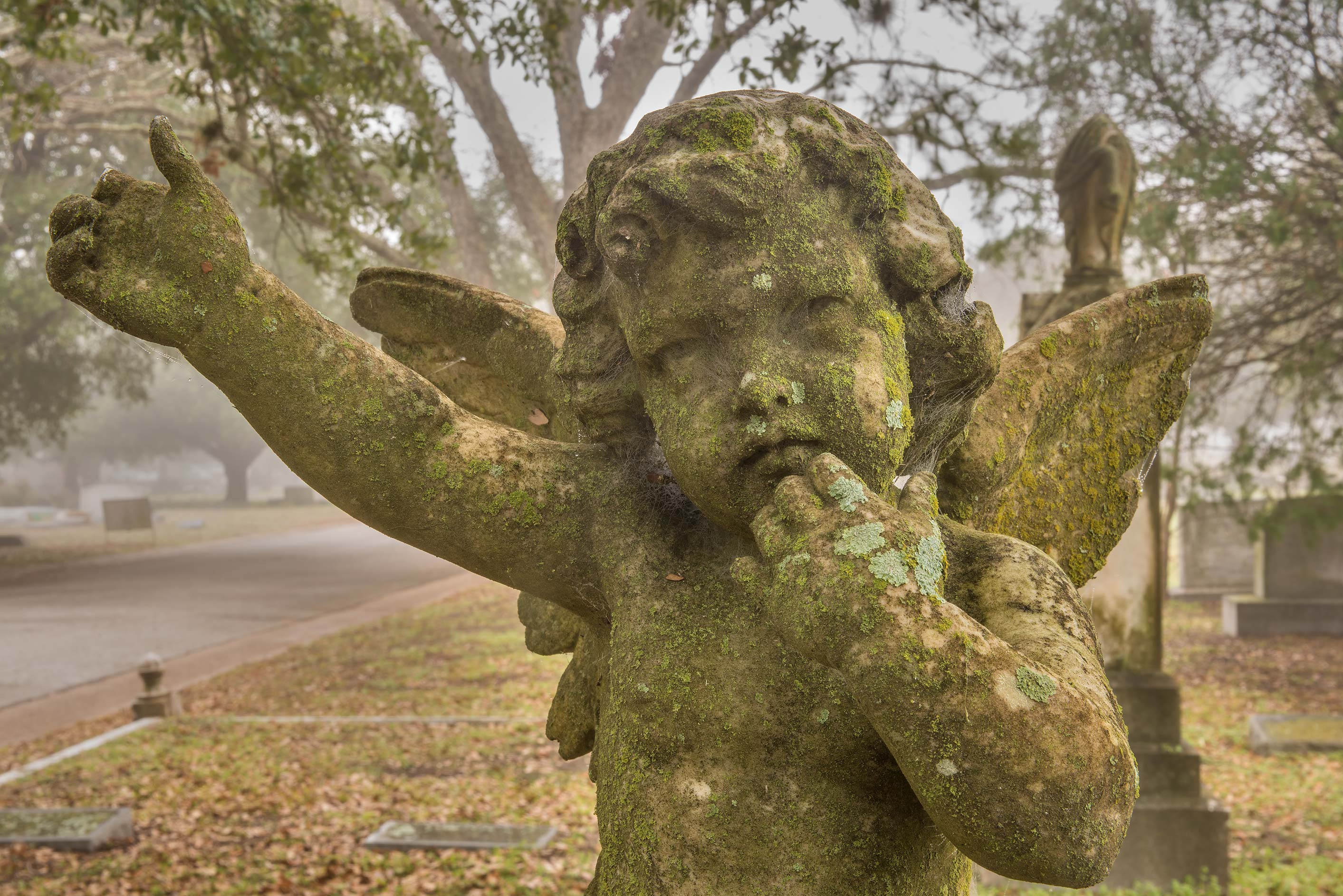 Mossy angel on a tomb in City Cemetery. Bryan, Texas