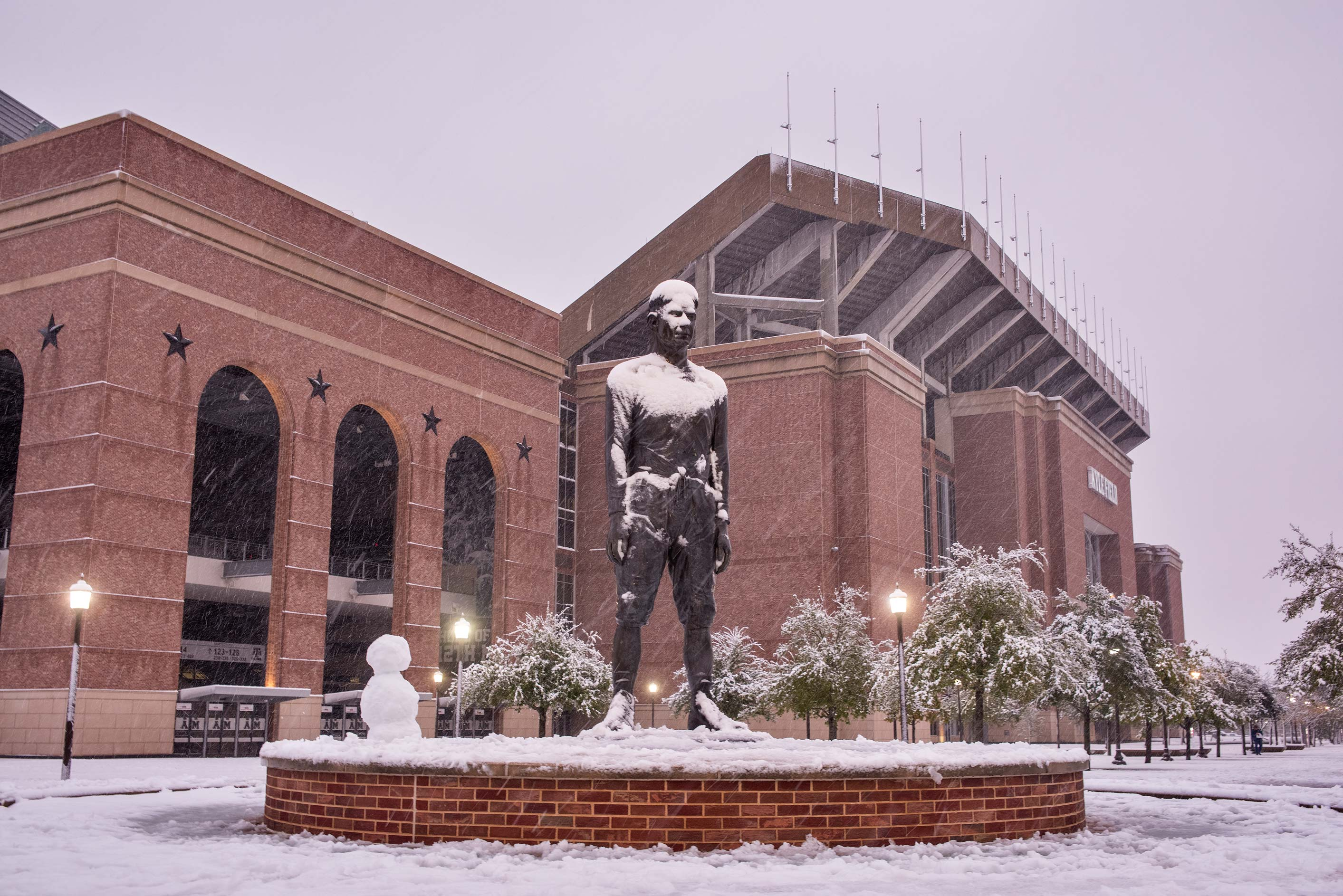 12th Man Statue in snow on campus of Texas A&M University. College Station, Texas