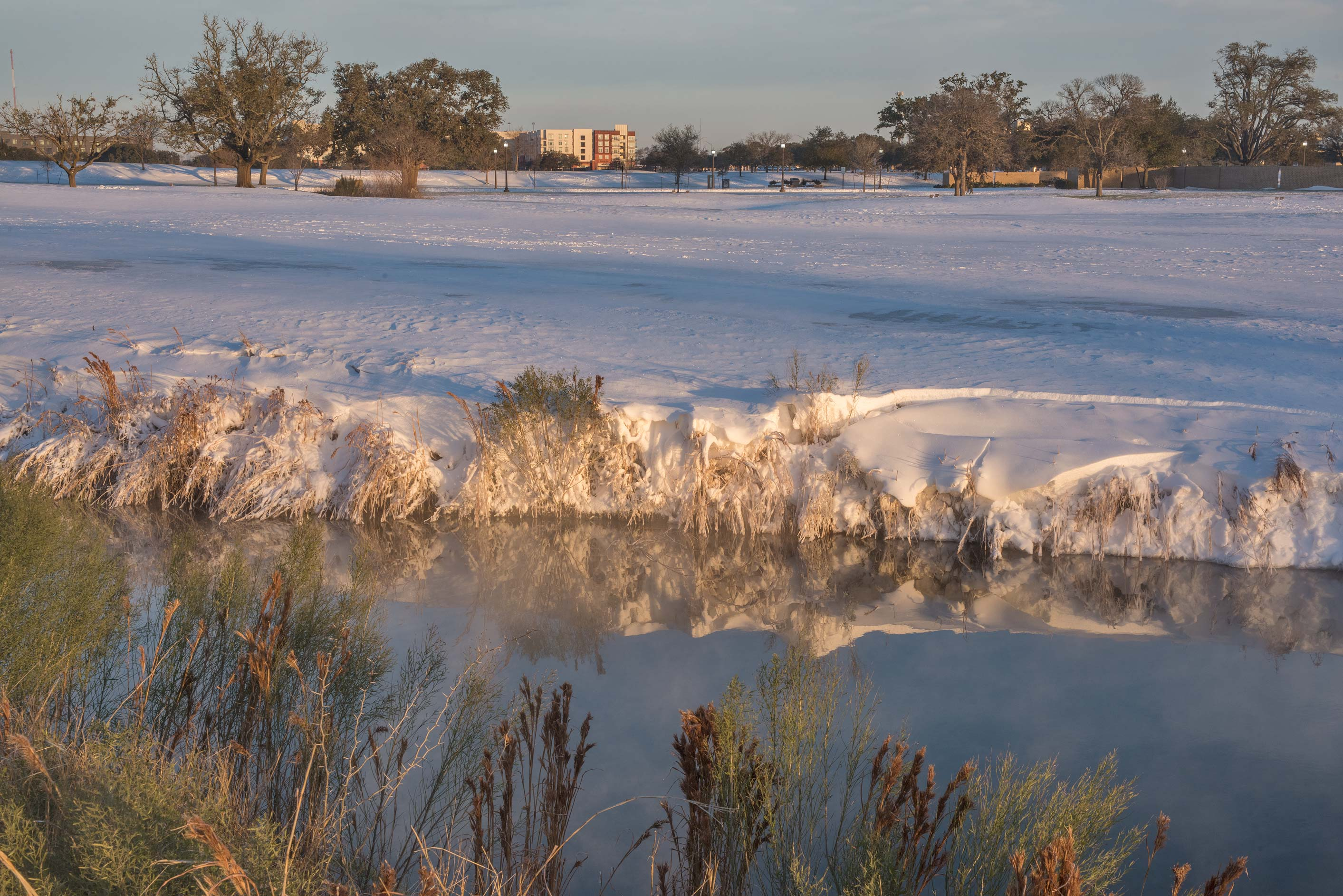 Snowy grass near a pond on a golf course on...M University. College Station, Texas